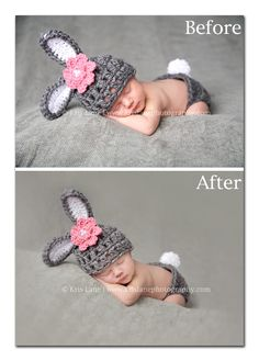 Before and after newborn processing - Kris Lane Photography