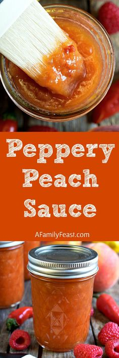 Peppery Peach Sauce - Sweet and peppery, this peachy sauce has fantastic flavor! Great as a condiment or as a glaze on meats.
