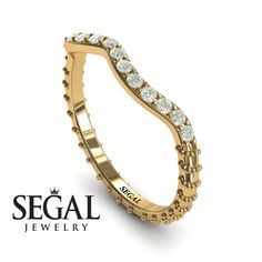 Rose Gold Bridal Set ring by Segal Jewelry Unique Diamond Engagement Rings, Antique Engagement Rings, Designer Engagement Rings, Diamond Rings, Black Diamond, Gold Rings, Vintage Style Rings, Bridesmaid Jewelry Sets, Bridal