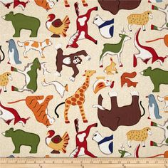 Doodle Zoo Large Tossed Animals Cream from @fabricdotcom Designed by Taylor Rae Studio for RJR Fabrics, this cotton print fabric is perfect for quilting, apparel and home decor accents. Colors include orange, yellow, brown, green, blue and white on a cream background.