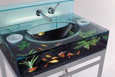 This bathroom sink design is perfect for animal lovers and those adoring proximity of nature. The washbowl is mounted in a nice goldfish bowl. You never have to worry about neglecting the cute goldfish.