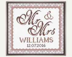 Wedding Cross Stitch Pattern - PDF - Cross Stitch Gift - Wedding Template - Embroidery - Wedding gift.  This is a digital Cross stitch pattern that you can instantly download from Etsy after purchase. Patterns include a full color chart with color symbols, a thread legend. The whole chart on one page, and also broken up into 4 pages (which makes the symbols easier to read). It also includes a full alphabet, to allow you to customise it to suit yourself.  PATTERN SPECIFICATIONS: Grid size…