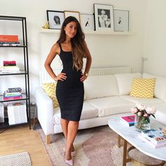 Mimi Ikonn | Black dress, nude heels, Michael Kors watch