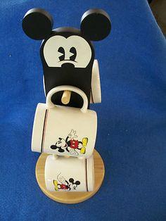 Disney Mickey Mouse 4 mugs and mug holder