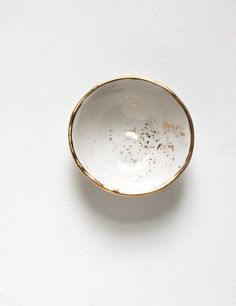 Mini Bowl in White with Gold Splatters