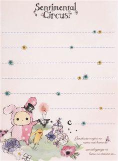 white Sentimental Circus Shappo and Toto in garden mini Note Pad San-X 3