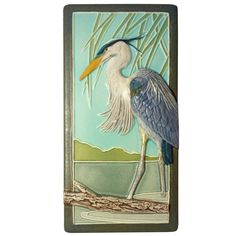 Great blue heron, 4 x 8 inches, home decor