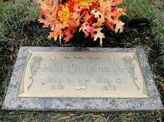 "Paul Williams.    R/B singer, choreographer. Original member of the ""Temptations"". Lincoln Memorial Park, Clinton Township, Macomb, Michigan.  Read more...."