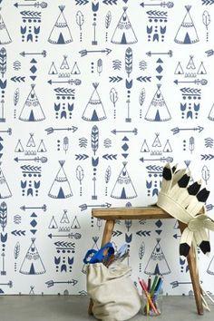 Children s Wallpaper - Teepees A Tribal Gathering - Indigo White
