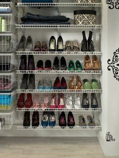 How to Build a Shoe Rack for Your Closet Closet Storage Shelves and Cubes Wire Closet Shelving, Metal Shelving Units, Entryway Shoe Storage, Bench With Shoe Storage, Closet Shelves, Closet Storage, Closet Organization, Entryway Ideas, Organization Ideas For Shoes