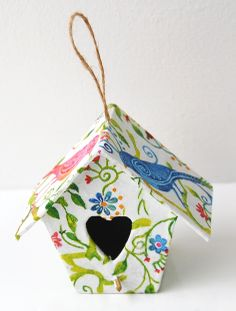 DIY Napkin decoupaged mini birdhouse - one of our new papier mache shapes available wholesale.