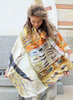 Unique hand painted silk scarf Venice Morrow/ Artistic by klaradar