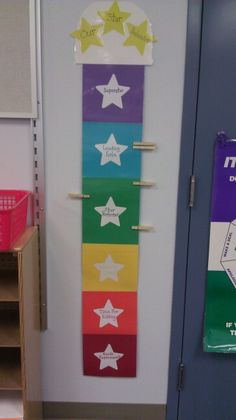 Easy behavior chart to make with just construction paper and clothespins. Just laminate and done! I made mine match my movie classroom. Movie Classroom, Classroom Behavior Chart, Behaviour Chart, Star Chart, Spring Projects, Construction Paper, Clothespins, Cubbies, School Ideas