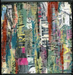 Abstract Collage and mixed media on gallery by twocooltexans, $42.00  Encaustic artists here in Dallas that used to teach classes.