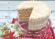 Moist, Delicious, an Flavorful Eggnog Cake with Eggnog Buttercream! This scratch cake recipe is perfect for Christmas and winter gatherings! Coconut Cake From Scratch, Cake Recipes From Scratch, Eggnog Cake, Eggnog Recipe, Christmas Goodies, Christmas Baking, Holiday Baking, Layer Cake Recipes, Layer Cakes