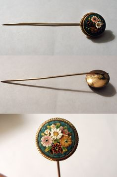 Vintage / Antique Stick Pin Collection - Victorian Floral Micromosaic