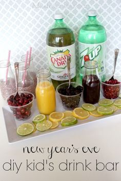 New Year's Eve diy kid's drink bar! Super fun for a stay at home new year's night!