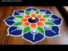 Here's one of my rangoli designs for Diwali. Its big and simple flower rangoli design. This pattern of the rangoli is my own creative work. Rangoli Designs Simple Diwali, Simple Flower Rangoli, Indian Rangoli Designs, Rangoli Designs Latest, Rangoli Designs Flower, Free Hand Rangoli Design, Small Rangoli Design, Rangoli Border Designs, Rangoli Patterns