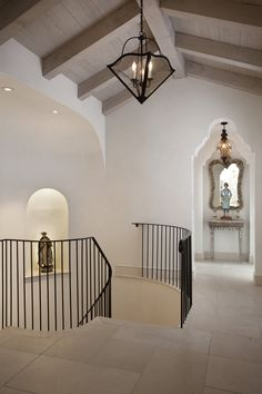 Detailed ceilings and curved staircase Foyer Staircase, Curved Staircase, Entry Hallway, Staircases, Interior Architecture, Interior And Exterior, Balustrades, My Dream Home, Interior Inspiration