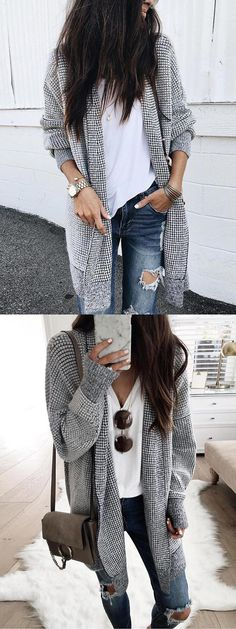 Shop for Black Plaid Cotton Open Front Long Sleeve Women Cardigan online at $29.99 and discover more Cheap and Fine Sweaters & Cardigans at mynystyle.com