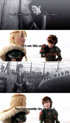 Hiccup confessing his self-doubt to Astrid. Besides Toothless, she's the one friend he can trust with his innermost feelings.