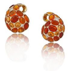 18K Gold, Fire Opal & Diamond Earrings from the Stephen Russell Collection - http://www.jewelsdujour.com/2013/08/just-another-monochrome-monday/
