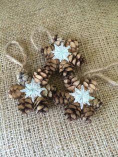 Mini Pine Cone Wreath Ornaments Gift Topper by RedbirdCountryDecor Farmhouse Christmas Ornaments, Pinecone Ornaments, Holiday Ornaments, Ornament Wreath, Cowboy Christmas, Little Christmas Trees, Christmas Crafts For Kids, Xmas, Pine Cone Art