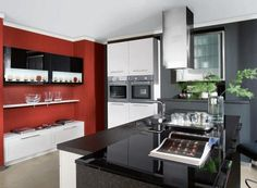 Kitchen-in-Red-and-Gray