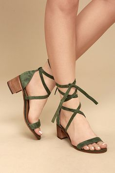 Fashionable, yet sensible, the Steve Madden Rizzaa Olive Suede Leather Heeled Sandals are all-around winners! Genuine suede leather crisscrosses and ties around the ankle on this open-toe design. Women's Shoes, Shoe Boots, Shoes Flats Sandals, Strappy Shoes, Golf Shoes, Baby Shoes, Dress Shoes, Dance Shoes, Pretty Shoes