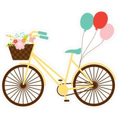 Spring Bicycle from the Hello Spring Collection by Echo Park Paper Co. Print And Cut Silhouette, Silhouette Design, Kids Dress Patterns, Interior Design Sketches, Bicycle Print, Bird Quilt, Echo Park Paper, Printed Balloons, Hello Spring