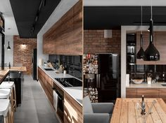 three homes using exposed brick, wood panelling and grey . Home - 20 items . Home Decor Kitchen, Kitchen Interior, Home Interior Design, Casas Country, Interior Wall Colors, Futuristisches Design, Brick And Wood, Brick Walls, House Design Photos