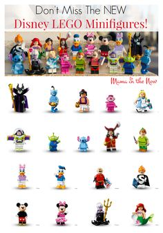 Look at the awesomeness that happens when Disney joins forces with LEGO and create Minifigures! These Disney LEGO Minifigures are in stores May 2016 Lego Disney, Disney Toys, Walt Disney, Legos, Lego Lego, Lego Decorations, Best Lego Sets, Lego Games, Lego Activities