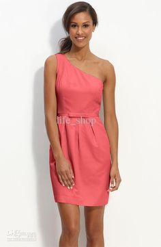 Wholesale Coral Beach Bridesmaid Dresses Short One Shoulder Cheap Affordable 2013, Free shipping, $81.16/Piece | DHgate