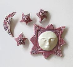 Ceramic Ceramic Wall Art Pink Wall Sculpture by acosmicmermaid