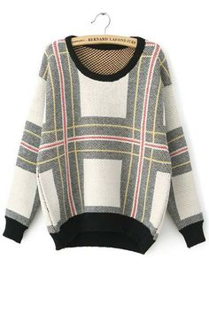 Plaid Stripes Loose Knitted Sweater
