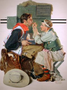 """""""Gary Cooper as the Texan"""" by Norman Rockwell, 1930 ー【This Rockwell illustration was The Saturday Evening Post cover, published May Gary Cooper, Norman Rockwell Prints, Norman Rockwell Paintings, Peintures Norman Rockwell, The Saturdays, Saturday Evening Post, Painting Gallery, Texans, Held"""