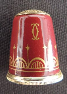 Cartier Collectible Thimble Maroon with Gold Pattern Made in England