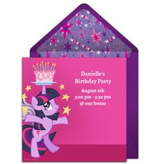 Free My Little Pony invitations! Adorable My Little Pony online invitations you can personalize and send via email. #mlp #mylittlepony #friendshipismagic