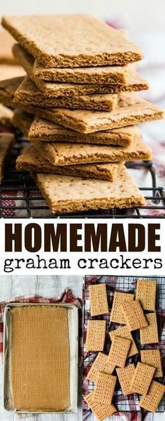 An easy recipe for Homemade Graham Crackers. Made with whole wheat flour and molasses, these are so much better than store-bought crackers! Baking Recipes, Cookie Recipes, Snack Recipes, Dessert Recipes, Eggless Desserts, Flour Recipes, Health Desserts, Sweet Desserts, Graham Cracker Recipes