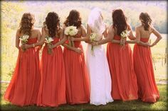 I do love how coral flatters everyone and contrasts with the white gown.