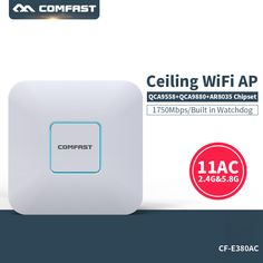 COMFAST CF-E380AC 1750Mbps wireless Indoor route 802.11AC 5.8G+2.4G Qualcomm 48V POE power 16 Flash WiFi Access Point ceiling AP #Affiliate