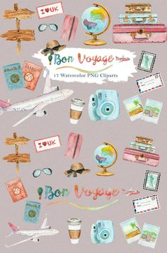 Travel Vacation Watercolor Clipart Airplane, Travel, Holiday, Beach, Summer, Trip, Road, Drive, Trip, Polaroid, Passport, Digital Download, Scrapbook, Etsy, Planner, Invitation, Graphic Resource, Design
