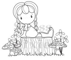 C.C. Designs - Cling Mounted Rubber Stamp - Swiss Pixie Birgitta On A Tree,$7.99