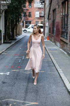Blush Blazer, Blush Midi, Blush Pumps | MEMORANDUM | NYC Fashion & Lifestyle Blog for the Working Girl