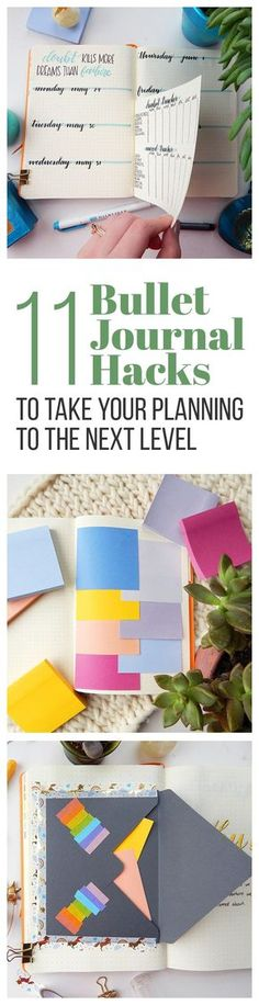 There are plenty of ways to use your for productivity, but these 11 bullet journal hacks will have you looking at things in a new way. These quick tips will help you up your level of productivity and add some extra spunk to your journal! Bullet Journal Décoration, Bullet Journal Banners, Bullet Journal Spread, Bullet Journal Layout, Midori Journal, Midori Planner, Filofax, Bujo, Journal Inspiration