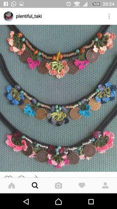 Crochet Earrings Pattern, Crochet Basket Pattern, Crochet Bracelet, Crochet Patterns, Fabric Jewelry, Beaded Jewelry, Beaded Necklace, Chunky Bead Necklaces, Chunky Beads