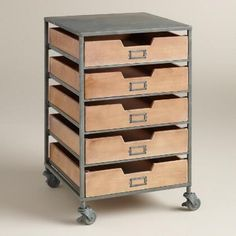 Storage Furniture - Papers, office supplies and odds and ends all find their proper place in our brushed metal cart, furnished with five wooden drawers, handy label holders and . Storage Cart With Drawers, Drawer Cart, Rolling Storage Cart, Rolling Carts, Top Drawer, Furniture Ads, Home Office Furniture, Small Furniture, Furniture Cleaning