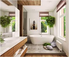 The spa like bathroom design ideas we found has got some different features you can include, all you need is to select your favorites, pin them and save them for when you are looking to design your new bathroom. There are plenty to pick from, from ceiling showers to nice, isolated, bathtubs, you can give your new bathroom the feeling of fanciness and an entirely put-together look. After deciding which fixtures you want to feature, all you need is completing the look with nice towels... Zen Bathroom Decor, Feng Shui Bathroom, Tropical Bathroom, Natural Bathroom, Spa Like Bathroom, Bathroom Plants, Simple Bathroom, Bathroom Colors, Bathroom Styling