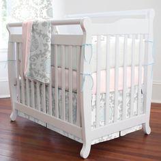 Pink and Gray Rosa Mini Crib Bedding #carouseldesigns