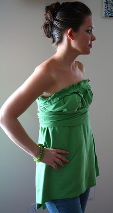 Make longer for swimsuit coverup and use fabric from old t shirts.  Nice tutorial.